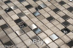 10SF Stainless steel stone Crackle Glass Mosaic Tile Kitchen Backsplash Floor