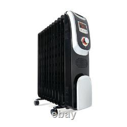 11 Fin Digital Oil Heater 2400W Black Timer Portable Home Office Electric NEW