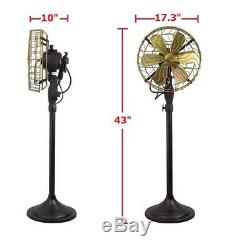 16 Brass Blade Electric Floor Stand Fan Oscillating Vintage Metal Antique style