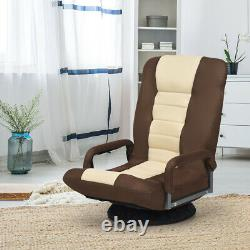 360-Degree Swivel Gaming Floor Chair with Foldable Adjustable Backrest Brown