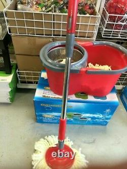 360° Spinning Rotating Floor Mop &Stainless Steel Spin Dry Bucket with2 Mop Heads