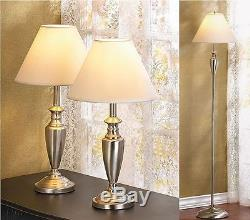 3 pc Brushed satin steel silver Metal floor Table Lamp bedside side sofa shades