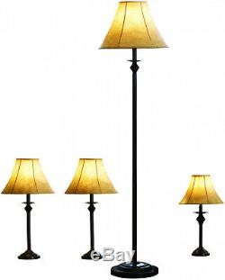 4 Piece Lamp Set Floor Light Accent Table Lamps Vintage Shade Bronze Finish NEW