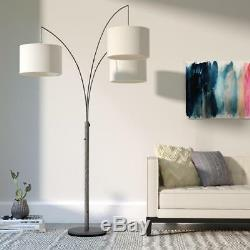 74 Tree Floor Lamp Base with 3 Fabric Drum Shades Brushed Steel Finish