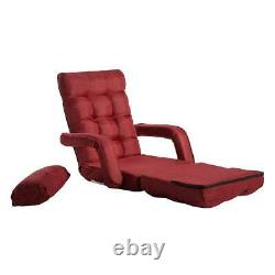 Adjustable 5-Position Folding Floor Chair Lazy Sofa Cushion Gaming Chair Red US