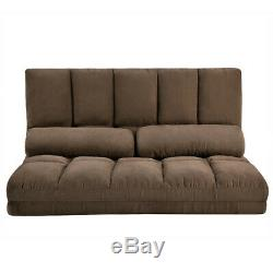 Adjustable Double Chaise Lounge Sofa Chair Floor Couch with Two Pillows Brown