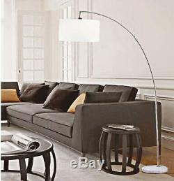 Adjustable Tall Steel Arch Arching Marble Base & White Shade Floor Lamp 81H