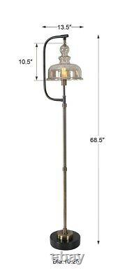 Antique Style Industrial Warehouse Floor Lamp Amber Glass Shade Uttermost
