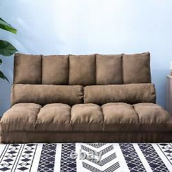 Artiss Lounge Sofa Floor Recliner Bed Chaise Chair Folding Couch Suede Charcoal
