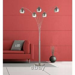 Artiva Amore 86 in. Brushed Nickel LED Arc Floor Lamp with Dimmer