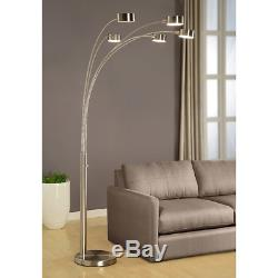 Artiva USA Micah 5 Arc Brushed Steel Floor Lamp with Dimmer Switch, 360 Degree