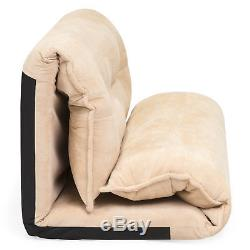 BCP Foldable Floor Gaming Sofa Bed with 2 Fleece Pillows Beige