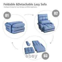 Blue Folding Lazy Sofa Floor Chair Sofa Lounger Bed with Armrests and Pillow