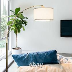 Brightech Logan Arc Standing Floor Lamp with LED Bulb & Drum Shade, Antique Brass
