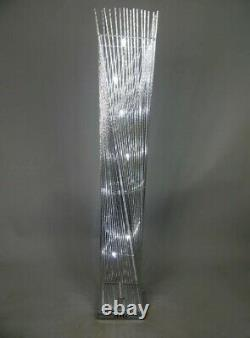 Cayan Tower Twisted Prism Silver Metal Wire Floor LED Lamp Chrome Modern Design