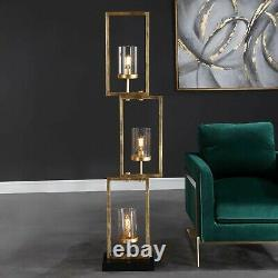 Cielo Modern 64 Aged Gold Staggered Steel Floor Lamp Glass Globes Uttermost