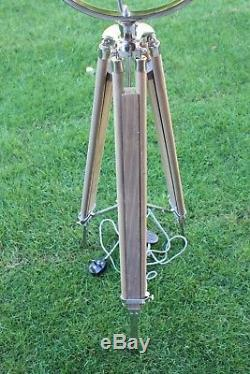 Classic Theatre Spot Light with Solid Wooden Tripod Floor Lamp Vintage Retro