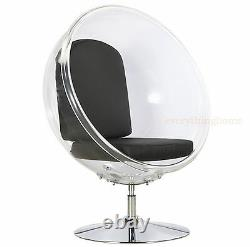 Clear Acrylic Half Round Balloon Chair with Floor Stand-White Silver Red Black