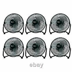 Comfort Zone 9 Inch 3 Speed High Velocity Air Cooling Fan, Black (6 Pack)