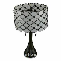 Contemporary Tiffany Style White Jeweled Table and Floor Lamp Set New