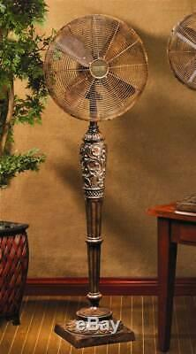 Deco Breeze Cantalonia 3 Speed Floor Fan w Carved & Fluted Base ID 31251