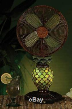 Deco Breeze Mosaic Pineapple Table Top Fan/Lamp, New, Free Shipping