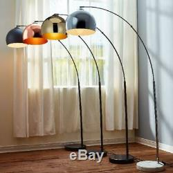 Dome Shaped Arc Floor Lamp Chrome Shade Metal Legs Marble Stand Large Shades