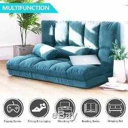Double Chaise Lounge Sofa Chair Floor Couch Adjustable Gaming Sofa withTwo Pillows