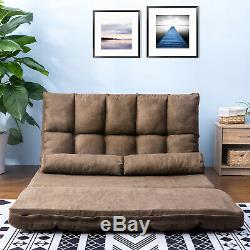 Double Chaise Lounge Sofa Chair Floor Couch with Two Pillows
