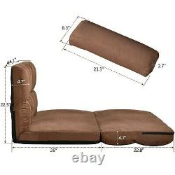 Double Folding Lazy Lounge Sofa Floor Chair With Two Pillows For Living Room