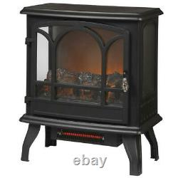 Electric Stove Infrared 1,000 sq. Ft. Fireplace Panoramic Heater Legion in Black