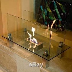 Fiero Stainless Steel Freestanding Floor Fireplace with Tempered Glass