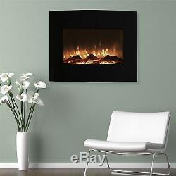 Fireplace Curved Wall Mount Glass Fire Place Heater Floor Stand Remote Electric