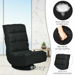 Floor Gaming Chair Fabric 5-Position Folding Lazy Sofa 360 Degree Swivel Black