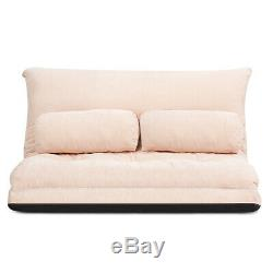 Floor Sofa Bed 6-Position Adjustable Sleeper Lounge Couch with 2 Pillows Beige