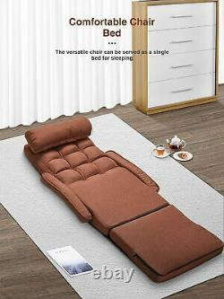 Floor Sofa Chair 6 Position Adjustable Chaise Lounge Folding Padded Portable Bed