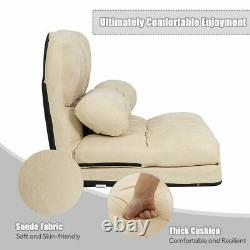 Foldable Floor Sofa Bed 6-Position Adjustable Lounge Couch with 2 Pillows Beige