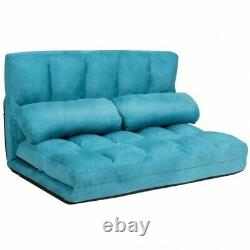 Foldable Floor Sofa Bed 6-Position Adjustable Lounge Couch with 2 Pillows Blue