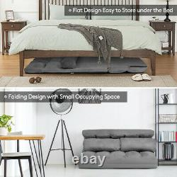 Foldable Floor Sofa Bed 6-Position Adjustable Lounge Couch with 2 Pillows Grey