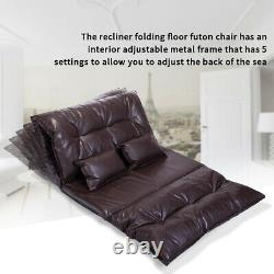 Foldable Floor Sofa Bed Adjustable Chaise Lounge Chair Home with2 Pillows Brown