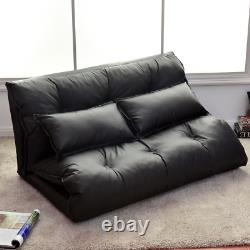Foldable PU Leather Modern Leisure Floor Sofa Bed Video Gaming With 2 Pillow Black