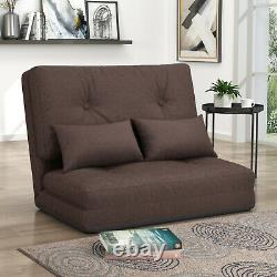 Foldable Sofa Bed Floor Couch Adjustable Leisure Futon Sofa with Two Pillows