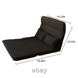 Folding Floor Chair Sofa Bed linen fabric Video Gaming Lounge with2 Pillows Black