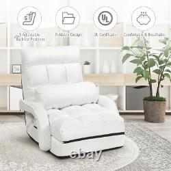 Folding Floor Massage Chair Lazy Sofa with Armrests Pillow