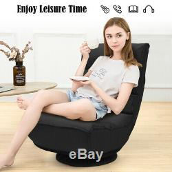 Folding Game Chair Floor Lazy Sofa 4-Position Adjustable 360 Degree Swivel Black