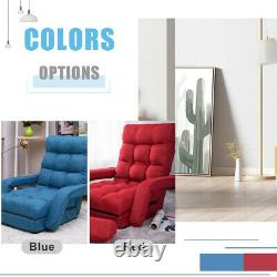 Folding Lazy Floor Chair Sofa Lounger Bed with Armrests Pillow Adjustable Backrest