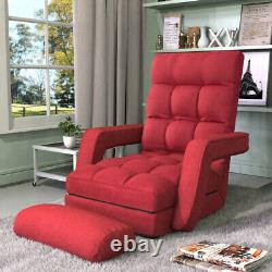 Folding Lazy Floor Chair Sofa Lounger Bed with Armrests and a Pillow US Stock