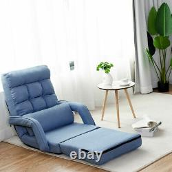 Folding Lazy Sofa Floor Massage Chair Sofa Lounger Bed WithArmrests Pillow Blue