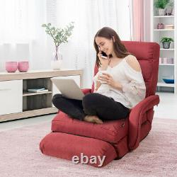 Folding Lazy Sofa Floor Massage Chair Sofa Lounger Bed WithArmrests Pillow Red