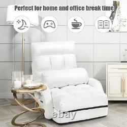 Folding Lazy Sofa Floor Massage Chair Sofa Lounger Bed WithArmrests Pillow White